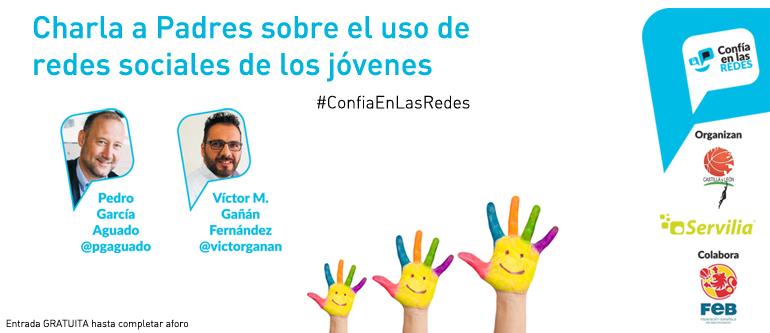 Cartel promocional de la charla para padres sobre el uso de redes sociales de los jóvenes con Pedro García Aguado y Victor Manuel Gañan